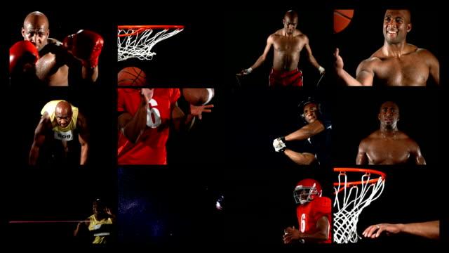 Atleta haciendo una variedad de deportes, vídeo de montaje - vídeo