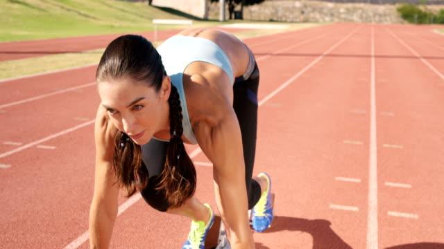 Athlete woman starting running video