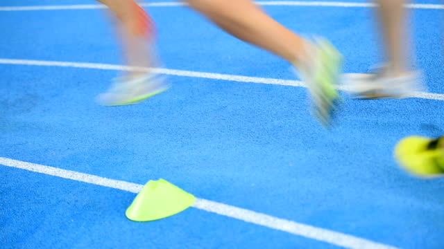 Athletes competing on sprint track video