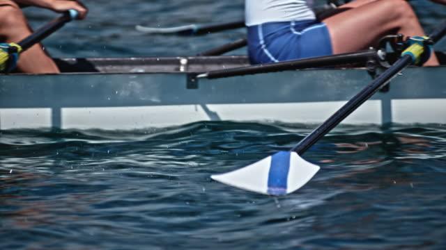 vídeos y material grabado en eventos de stock de slo mo atletas mover remos en el agua en el sol - deportes de remo