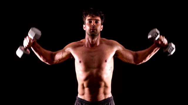 Athletic Male Fitness Weights Training Dumbbell video