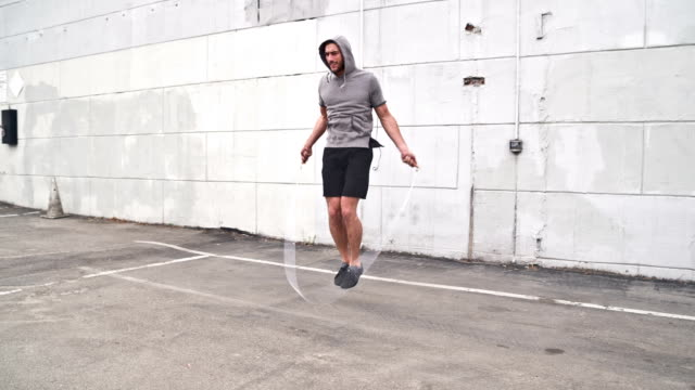 Athletic Male Workout Jumprope Slow-Motion video