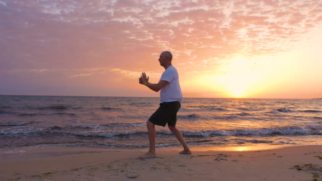 Athletic man practicing Tai Chi asian martial arts on sea beach in the morning Athletic man practicing Tai Chi (asian martial arts) on sea beach in the morning. Fan Through Back, Fan Penetrates Back. Turn Body, Deflect, Parry and Punch. Appears Closed, Withdraw and Push, as if Closing a Door. Cross Hands. Closing yin yang symbol stock videos & royalty-free footage
