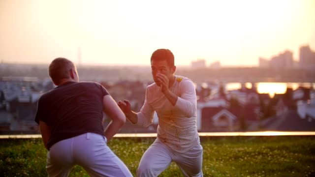 vídeos y material grabado en eventos de stock de atletismo hombres fuertes tren, aplicar elementos de arte marcial de la capoeira, sobre la verde hierba, contra el cielo de verano hermoso y la vista a la ciudad - artes marciales