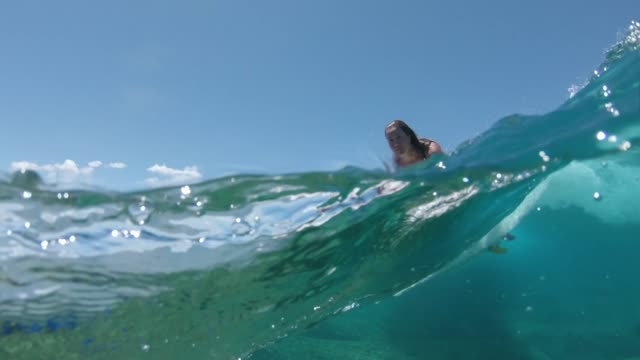 LOW ANGLE Athletic surfer girl rides an awesome crystal clear wave in sunny Fiji