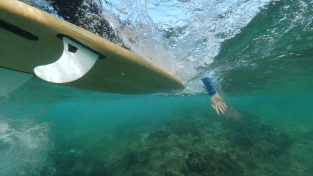 UNDERWATER SLOW MOTION: Athletic surfer paddling on his surfboard in clear ocean video