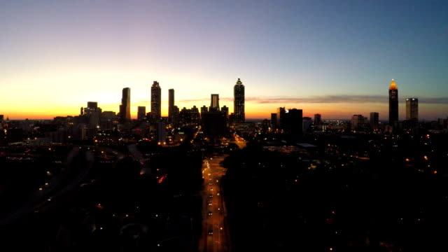 Atlanta Aerial Cityscape Fly Back Dusk video
