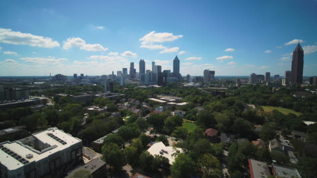 Atlanta Aerial v351 Flying over Old Fourth Ward area to downtown sunny cityscape