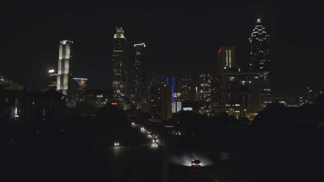Atlanta City Skyline at Night Close Up video