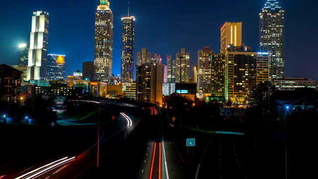 Atlanta City Skyline Time Lapse At Night video