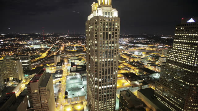 Atlanta downtown night timelapse video