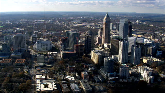 Atlanta From the East  - Aerial View - Georgia,  Fulton County,  United States video