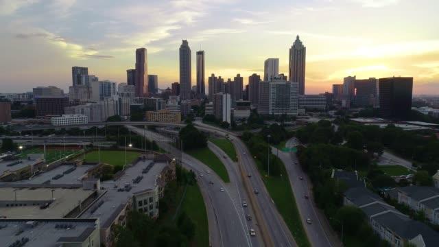 Atlanta Georgia Drone Skyline Aerial Flyover