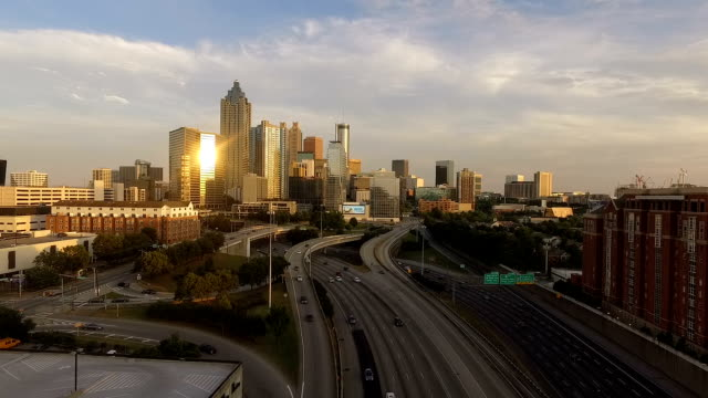 Atlanta Georgia Rush Hour Traffic Dusk Downtown City Skyline video
