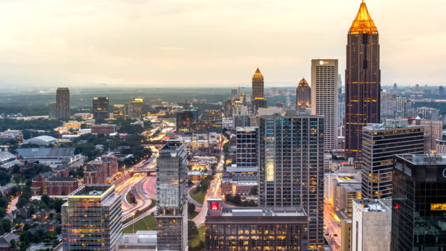 Atlanta sunset time lapse day to night 4k 1080p video