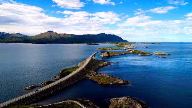 atlantic ocean road aerial footage norway - oceano atlantico video stock e b–roll