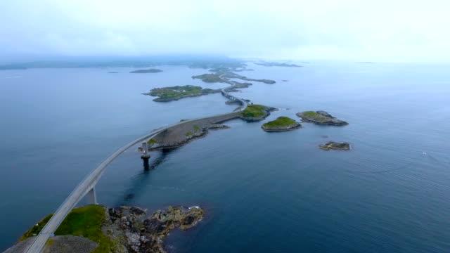 Atlantic Ocean Road Aerial footage Norway video