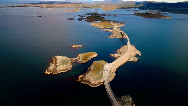 atlantic ocean road aerial footage norway - fiordi video stock e b–roll