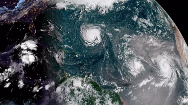 Atlantic Ocean Satellite Time Lapse Time Lapse Visible Satellite Imagery of The Atlantic Ocean in Mid - August 2018.   Imagery Provided by NOAA's Center for Satellite Applications and Research. meteorology stock videos & royalty-free footage