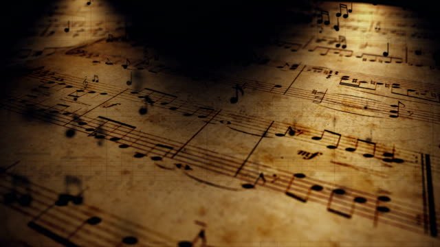 vídeos de stock e filmes b-roll de atmospheric music background with notes on old brown paper - compositor