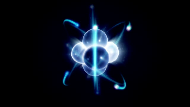 Atom spinning with nucleus and electrons - loopable video