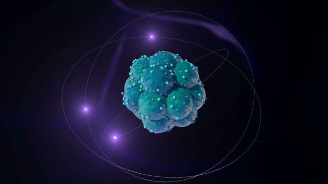 3D. Atom with nucleus, neutrons, protons and electrons. video