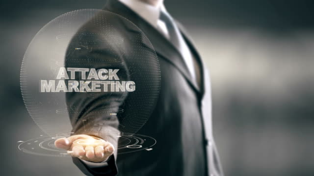 Attack Marketing with hologram businessman concept video