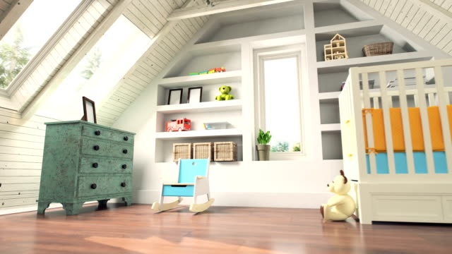 Attic Nursery Room Interior Camera movement in attic baby room. playroom stock videos & royalty-free footage