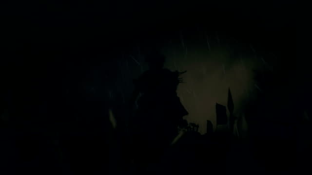Attila The Hun with His Army Under a Lightning Storm and Rain Before or After a Battle video