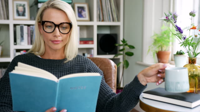 vídeos de stock e filmes b-roll de attractive blond woman looking through notebook in living room - hygge