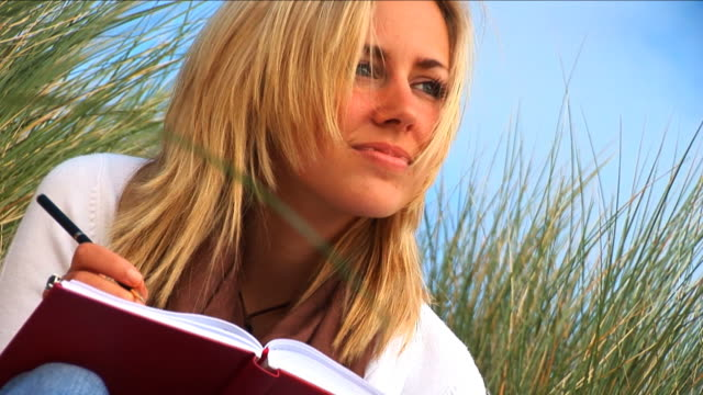 Attractive blong girl writing diary on the beach