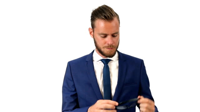 Attractive businessman in suit video