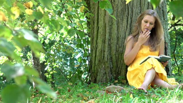Attractive carefree girl sit under tree and read books in park on sunny summer day. FullHD video