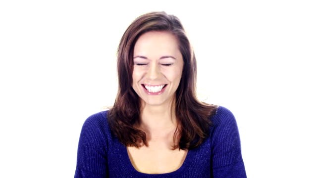 Attractive woman laughing video