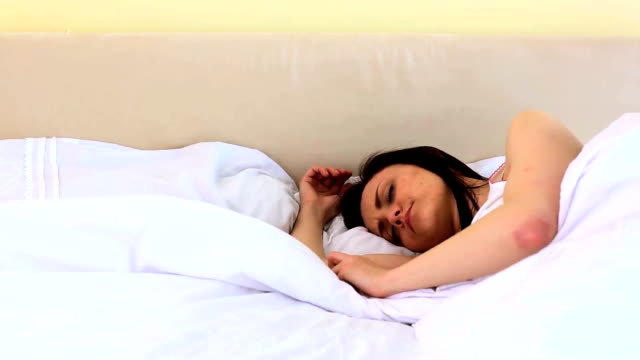 Attractive woman sleeping video