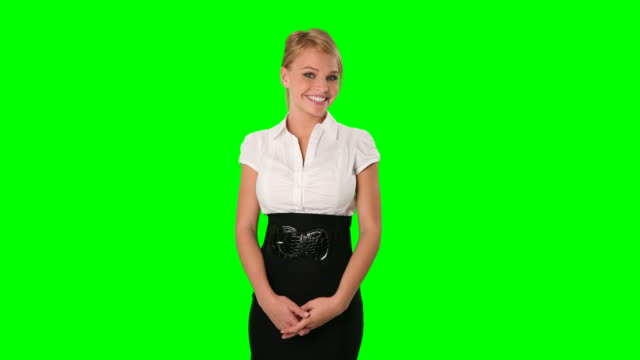 Attractive Young Businesswoman Posing on Green Screen video