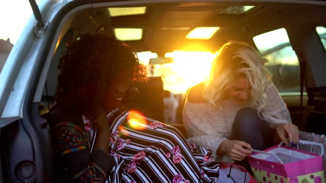 Attractive young women relaxing in a car after a successful shopping shopping and enjoying the sunset