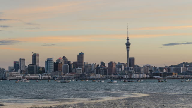 Auckland City Sunset Timelapse video