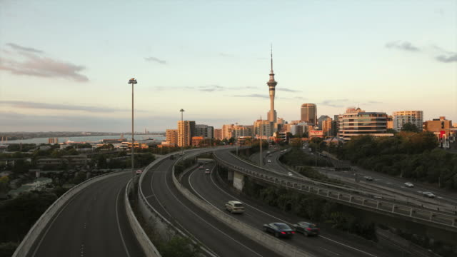 Auckland Skytower day to night Timelapse HD video. New Zealand video