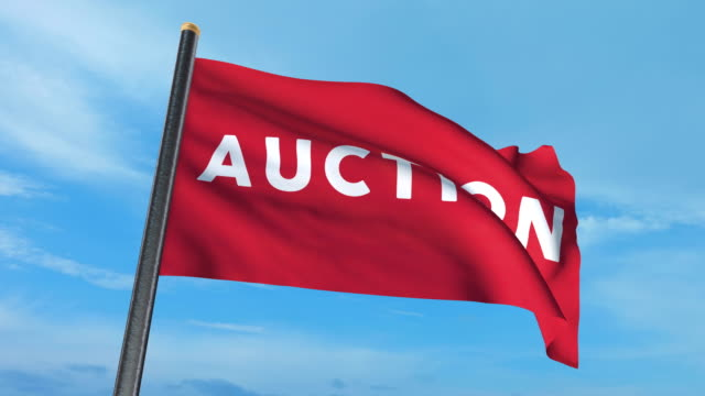 Auction flag waving (luma matte included so you can put your own background) video