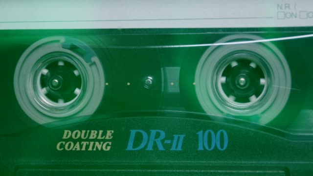 Audio Cassette in the Player. Close-up video