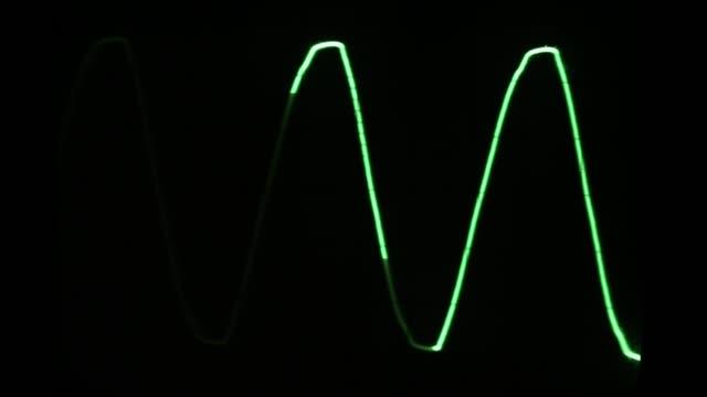 audio signal on oscilloscope screen. communication and electronics - frequenza video stock e b–roll