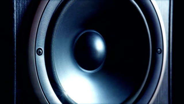 Audio speaker at full sound ! Loopable. Nice closeup to see the vibration. speaker stock videos & royalty-free footage