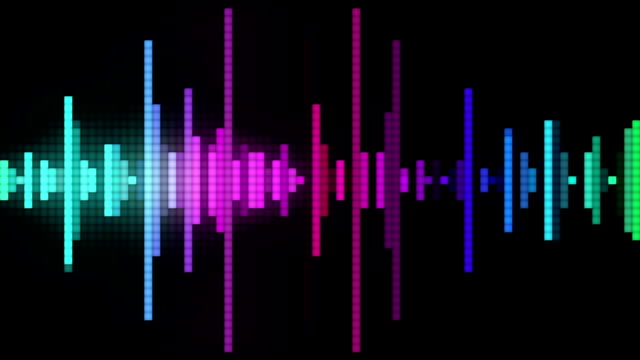audio spectrum pixel style audio spectrum glow simulation use for music background. sound recording equipment stock videos & royalty-free footage