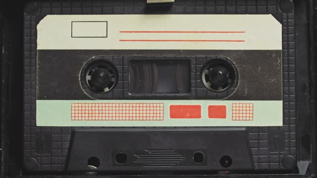 Audio Tape. Vintage Tape Recorder Plays Audio