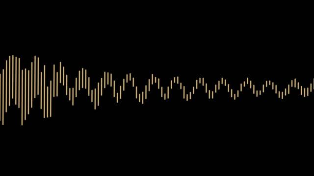 audio wave on black background. - attrezzatura per la musica video stock e b–roll