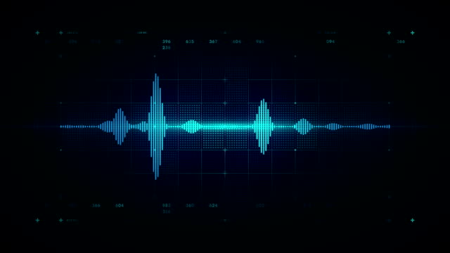 audio waveform-mono-blau - lärm stock-videos und b-roll-filmmaterial