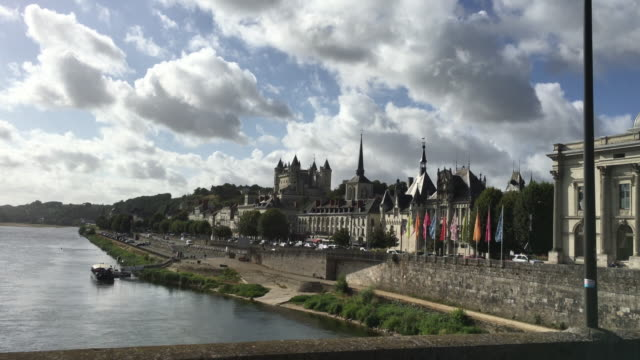 SAUMUR, FRANCE - August 12 2016. Traveling over the bridge from Saumur, France in the heart of the Loire Valley wine region. August 12 2016 video