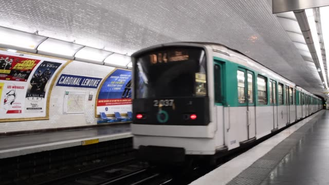 PARIS, FRANCE - August 16, 2019 - Departing train on metro station