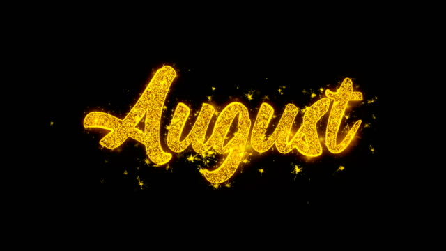 august typography written with golden particles sparks fireworks - inauguration filmów i materiałów b-roll